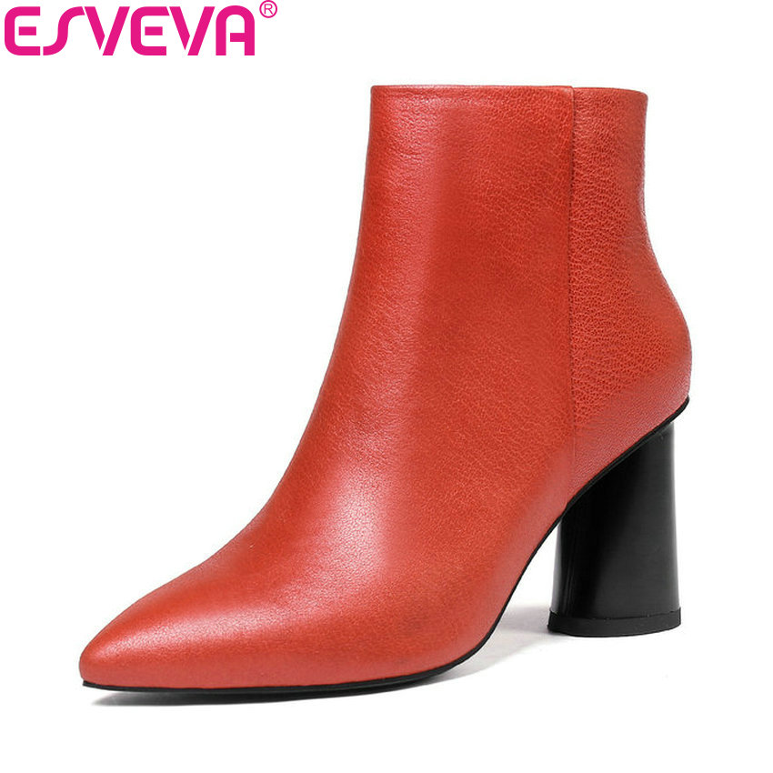 ESVEVA 2019 Woman Shoes Zipper Cow Leather Short Plush Ankle Boots Square High Heels Chelsea Women Shoes Pointed Toe Size 34-43 esveva 2018 women boots short plush pu lining elastic band pointed toe square high heels ankle boots ladies shoes size 34 39