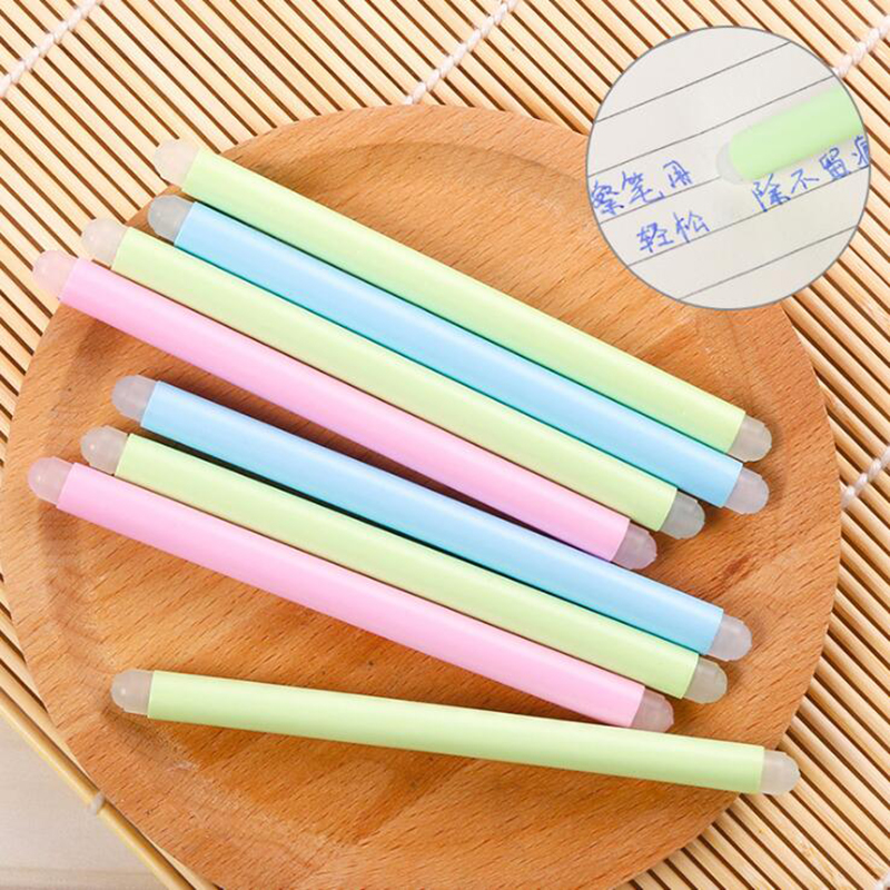 6pcs Erasable Pen Special Rubber Stick Pink Fluorescent Green Light Blue Children'S Student Stationery Gifts Office Supplies
