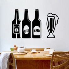 Creative Beer Vinyl Wall Stickers For Kitchen Room Wallpaper Removable Decals  kitchen decoration adesivo de parede