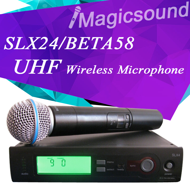 SLX SLX24/BETA58 High Quality Single Handheld Wireless Microphone UHF Vocal Microfone System with 6 pin Handheld  free shipping high quality version sm 58 58lc sm58lc wired vocal karaoke handheld dynamic microphone microfone microfono mic