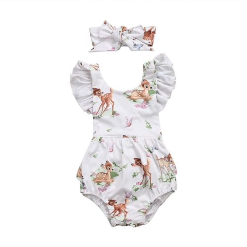 Bambi Cartoon Newborn   Romper   Baby Girl Clothes With Headband For New Born Clothing Set Girls   Rompers   For Baby Girl Outfit Onesie