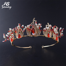 Snuoy Bohemia Red Stone Zironia Vintage Wedding Bride Hairband Simulated White Pearl Goddess Hair Accessories Jewelry