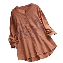 Women's Button Embroidery Round Neck Trumpet Sleeve Shirt Fashion Casual Light Long Sleeve Loose Cotton Linen Shirt Tops