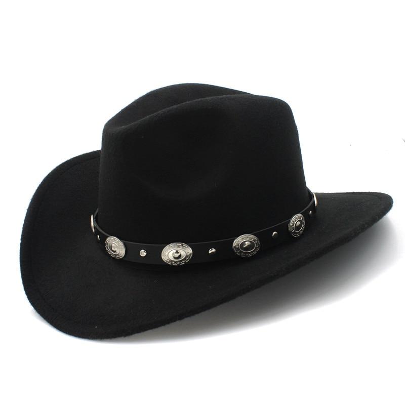 Wool Cowboy Hat With Wide Brim Punk Leather Belt  1