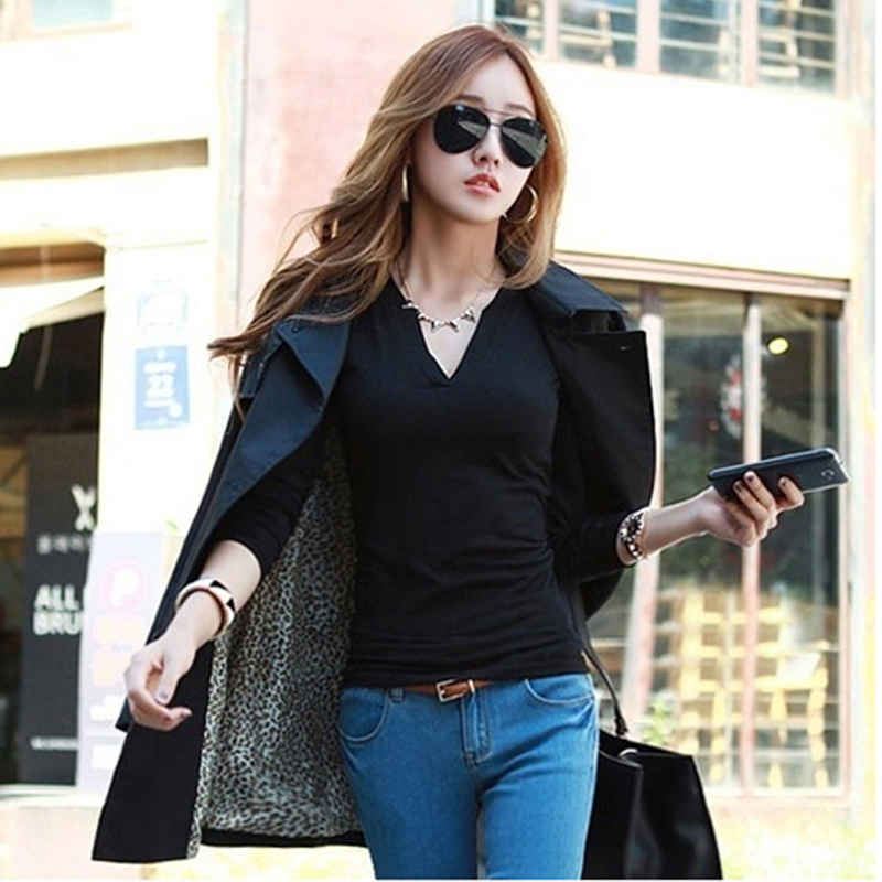 2017 solid 14 colors V-Neck Blouses Sexy Slim Knitted Long Sleeve Chemise Femme Korean Tops for Women clothing Shirt Top Blouse 1