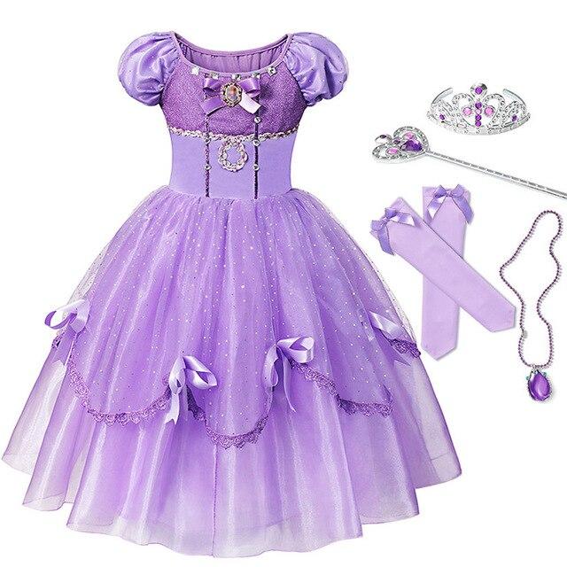 75c37b5fda83f6a YOFEEL платье принцессы Софии для девочки; дети Косплэй костюм с пышными  рукавами Layerd платья ребенок для вечеринки, дня рождения Софии маскара.