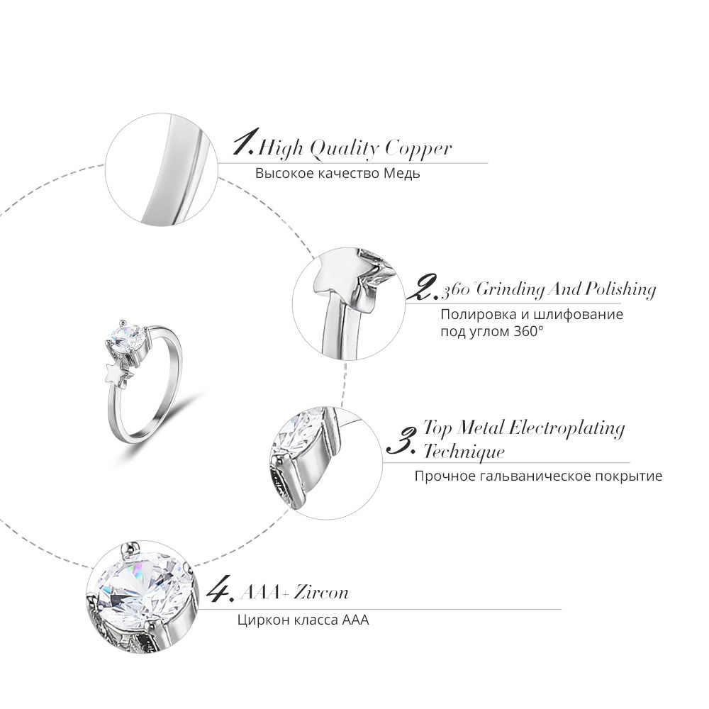 Viennois Wanita Abadi Pernikahan Cincin 4 Model AAA Zircon Silver Warna Ukuran 7 8 Cincin untuk Wanita Fashion Perhiasan