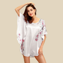 Ladies Sleepshirt Satin Charming Sexy Bath Robe Sleepwear Satin Robes Silk Wedding Robes For Women Party(China)