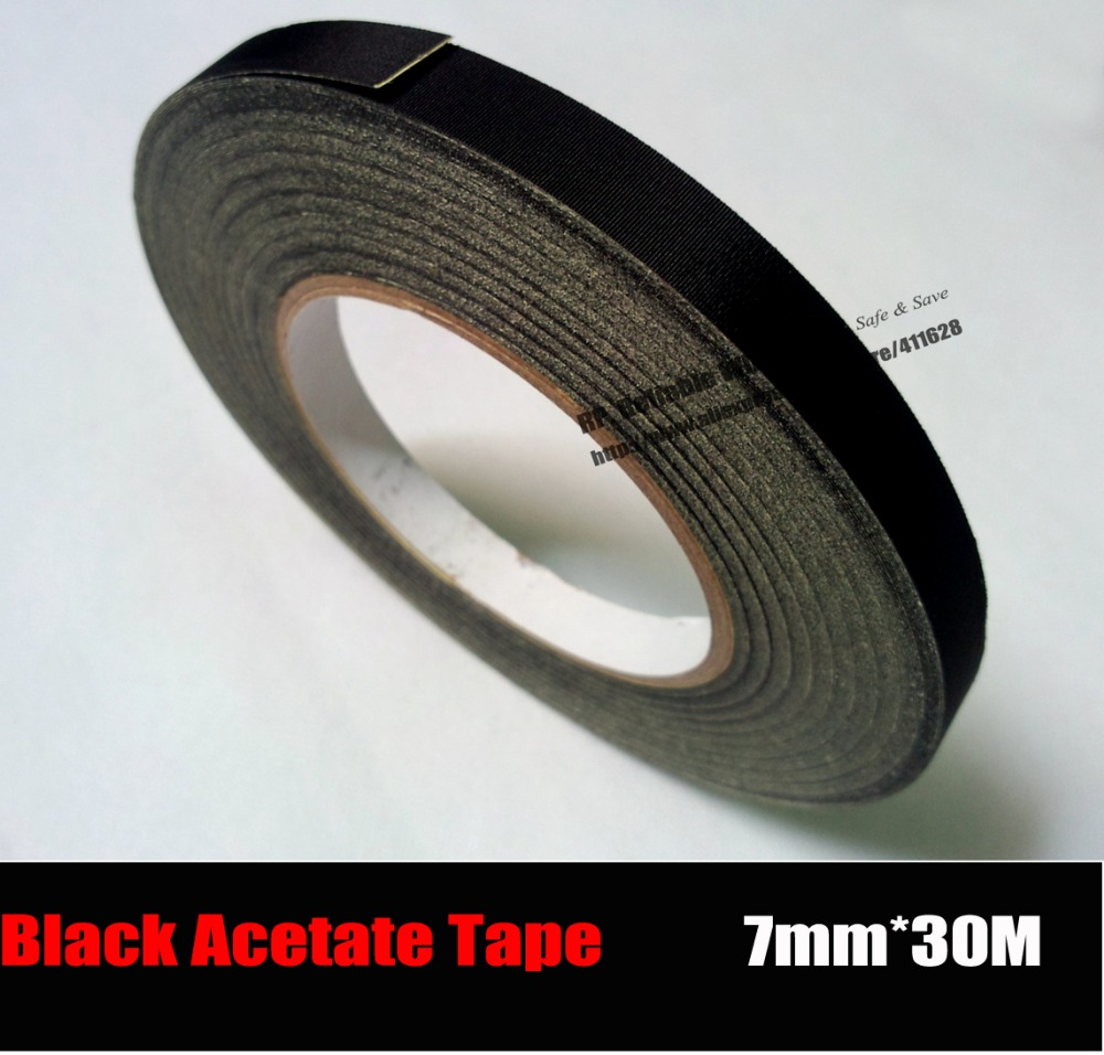 (7mm * 30 M) Noir Tissu Noir Colle, adhésif Acétate de Bande pour LCD De Réparation, câble Wrap Fixer, haute Température Résister, isolation