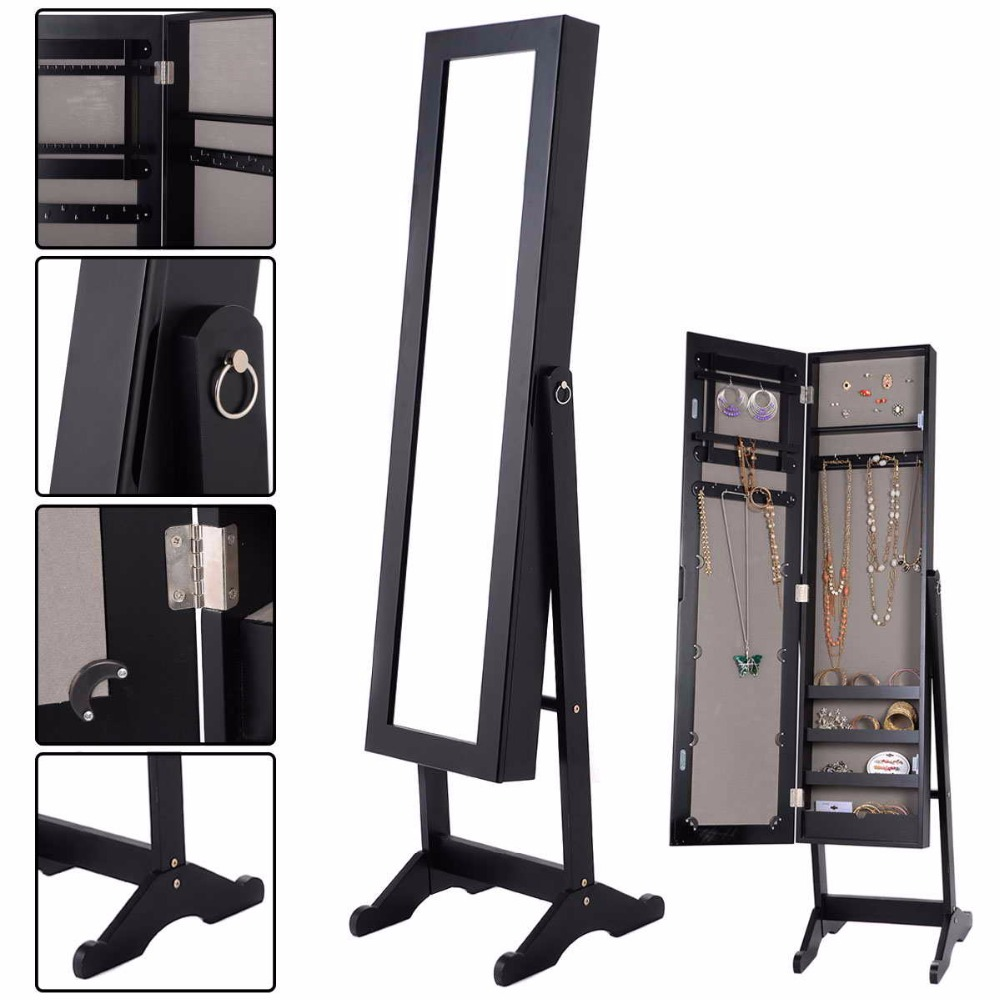 Goplus 144*34*37 * см ювелирные изделия зеркальный шкаф деревянный шкаф Цепочки и ожерелья Организатор прямоугольник составляют зеркала Коробка д...