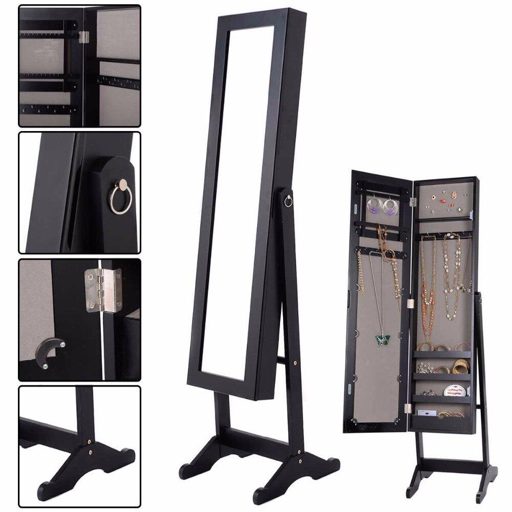 Goplus 144*34*37 * cm Armoire À Bijoux Miroir Armoire En Bois Collier Organisateur Rectangle Miroirs de Maquillage De Stockage boîte HB84438