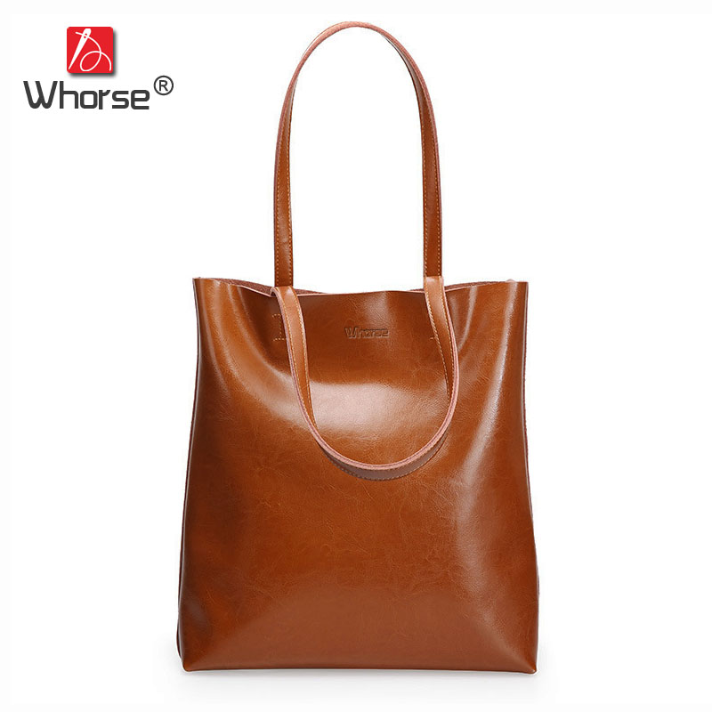 [WHORSE] Vintage Casual High Quality Genuine Leather Women Shoulder Bag Large Capacity Tote Famous Brand Handbag For Lady W08070 стоимость