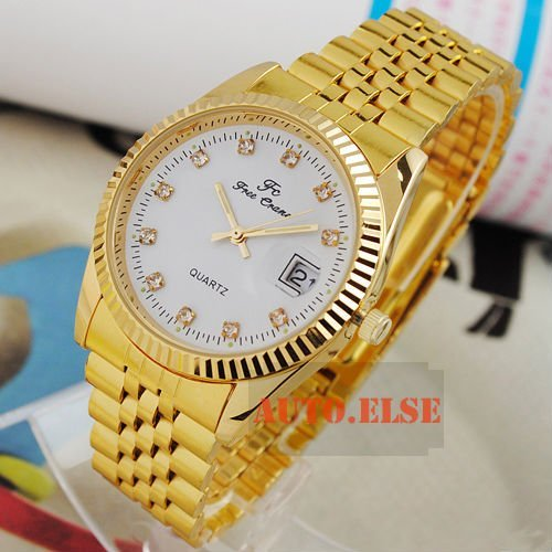 White Dial All Golden Stainless Steel Crystal Nails Calendar Mens Quartz Watch IW738