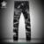 2016 Moda Fome Lobo Imprimir Calça Jeans Personalidade Masculina dos homens Magro Calças Jeans Preto Calças Compridas Frete Grátis