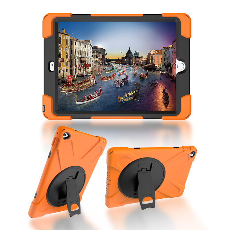GOOYIYO -  For iPad Air 2 iPad 6 Silicon Case PC Kickstand Cover Armor Shockproof Shell Heavy Duty Hard Tablet Case&Film&Stylus case for ipad mini 123 tablet character three layer heavy duty armor shockproof silicon hard protective shell