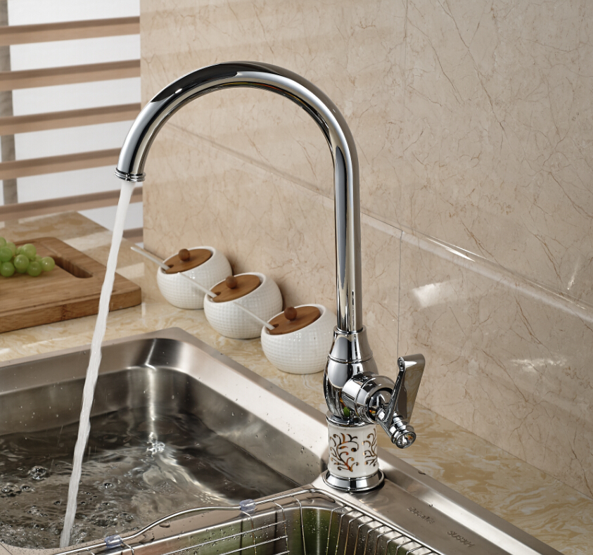 Chrome Brass Kitchen Faucet Swivel Spout Vanity Sink Mixer Tap Single Handle Hole Hot and Cold Faucet chrome brass kitchen faucet spring vessel sink mixer tap hot and cold tap swivel spout single handle hole