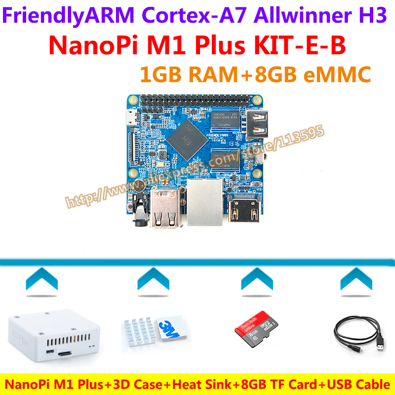 Allwinner H3 Quad-core Cortex-A7 NanoPi M1 Plus Demo Board (1GB RAM,8GB eMMC)+3D Case+Heatsink+USB Cable+8GB SD Card=KIT-E-B аксессуар чехол накладка asus zenfone 3 max zc553kl skinbox silicone chrome border 4people silver t s azc553kl 008