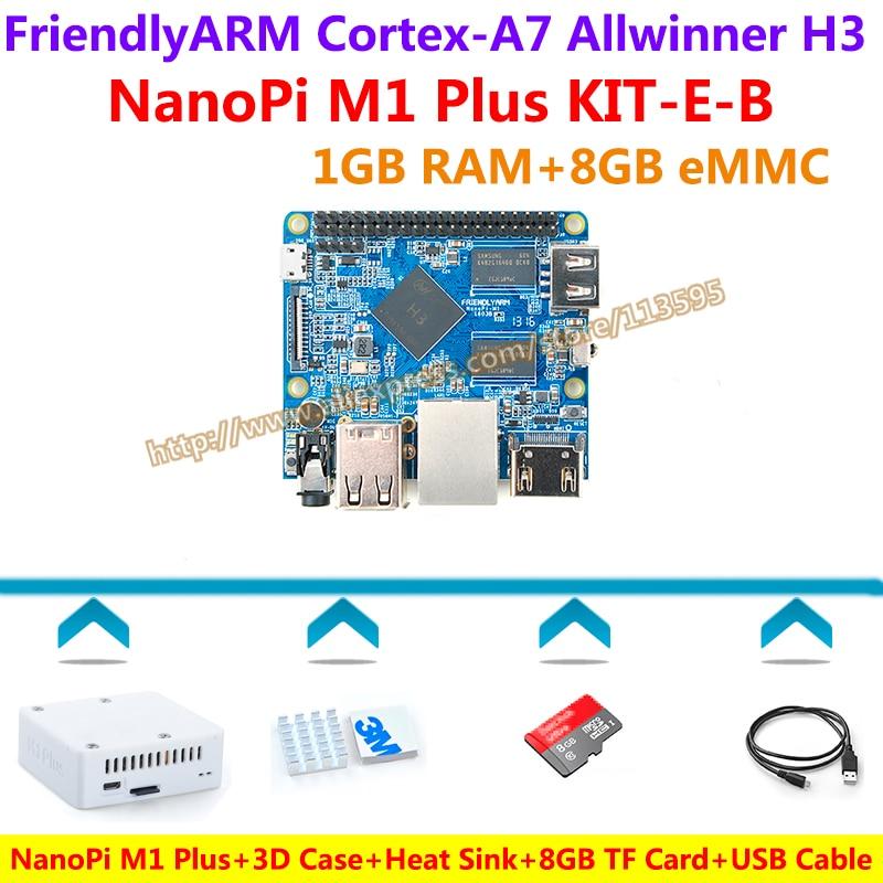 Allwinner H3 Quad-core Cortex-A7 NanoPi M1 Plus Demo Board (1GB RAM,8GB EMMC)+3D Case+Heatsink+USB Cable+8GB SD Card=KIT-E-B