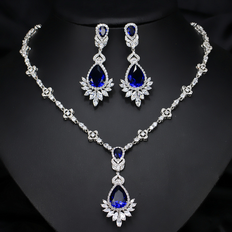 2019 new luxury blue pear 925 sterling silver dubai wedding for women lady anniversary gift jewelry