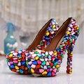 European Fashion Bridal Shoes Genuine Leather Rhinestone Wedding Shoes Handmade Multi Color Diamond Women Pumps High Heels