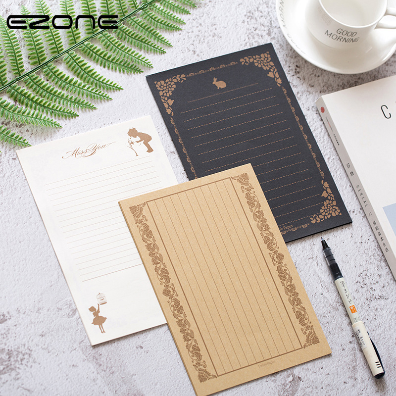 EZONE 8 PCS Retro Letter Papers Classical  Europe Design Different Pattern Writing Papers Vintage Lace Rabbit Print Stationery
