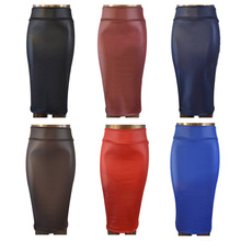 free shipping women office skirt high waist faux leather pencil skirt black sexy elastic below knee