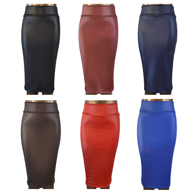 Free Shipping Women Office Skirt High Waist Faux Leather Pencil Black Y Elastic Below
