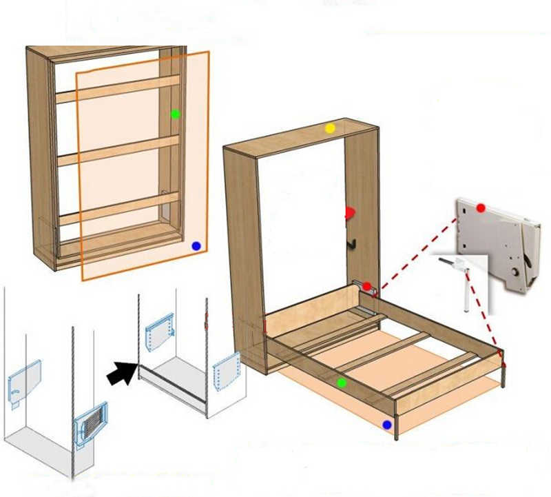 DIY Шкаф-кровать Murphy комплект оборудования сложить кровать механизм HM117
