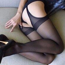 IShine, сексуальные колготки для женщин, четыре стороны, открытая промежность, обтягивающие чулки, женские черные эротические чулки, нижнее белье