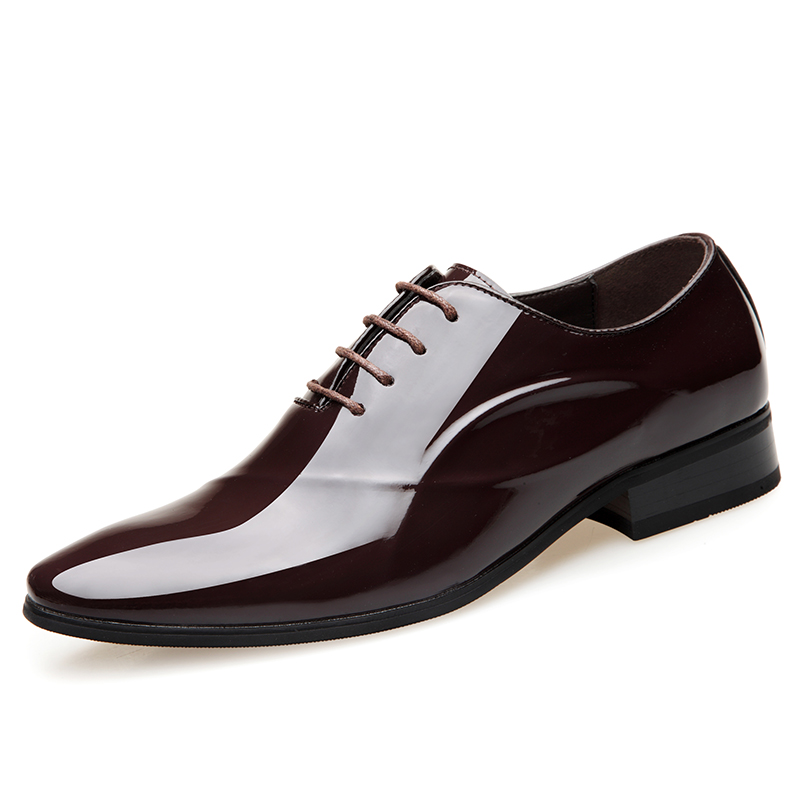 2019 New Men's Patent Leather Shoes Soft Rubber Out Sole Man Dress Shoes Office Leather Shoes
