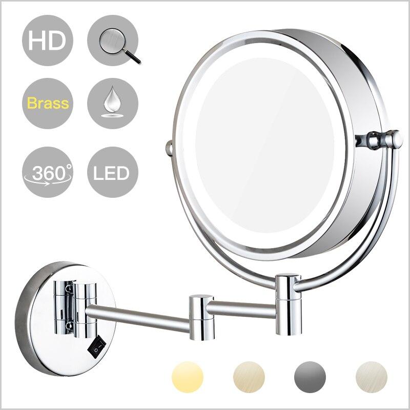 Настенный освещенный светодиодный поворотный зеркало для макияжа с 10X/7X/5X увеличением, Двухстороннее увеличительное/обычное зеркало, штеке...