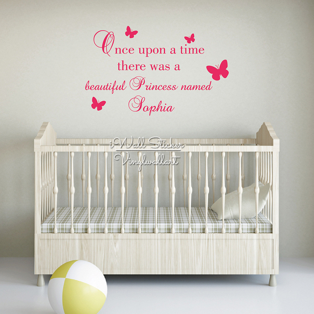 Girls Name Wall Sticker Custom Baby Name Wall Decal Once Upon A - Baby name wall decals