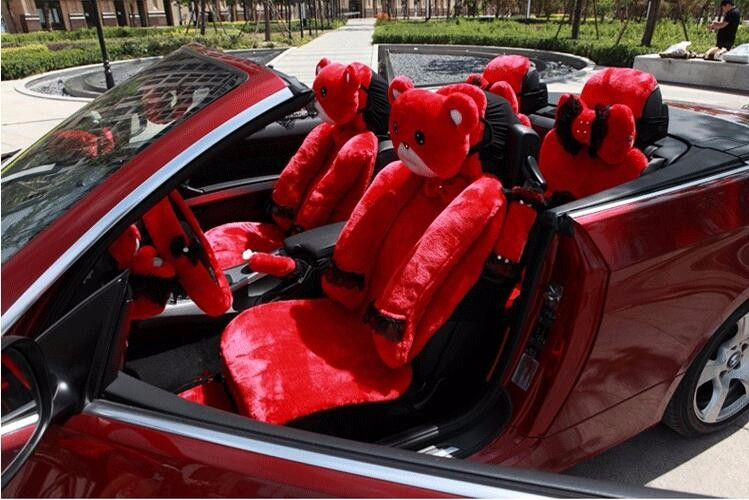 Mei-Mei-Bear-Car-Seat-Cover-Interior-Accessories-Set-Universal-Steering-Wheel-Covers-Milk-Velvet-19