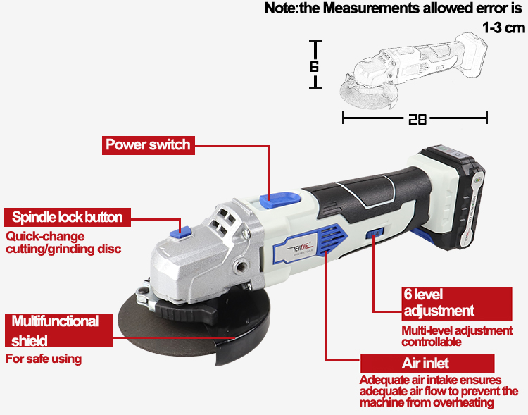 Image 2 - NEWONE 12V Angle Grinder with 2000mAh Lithium Ion M10 Cordless Power Tool Cutting and Grinding Machine Polisher for Home DIY-in Grinders from Tools