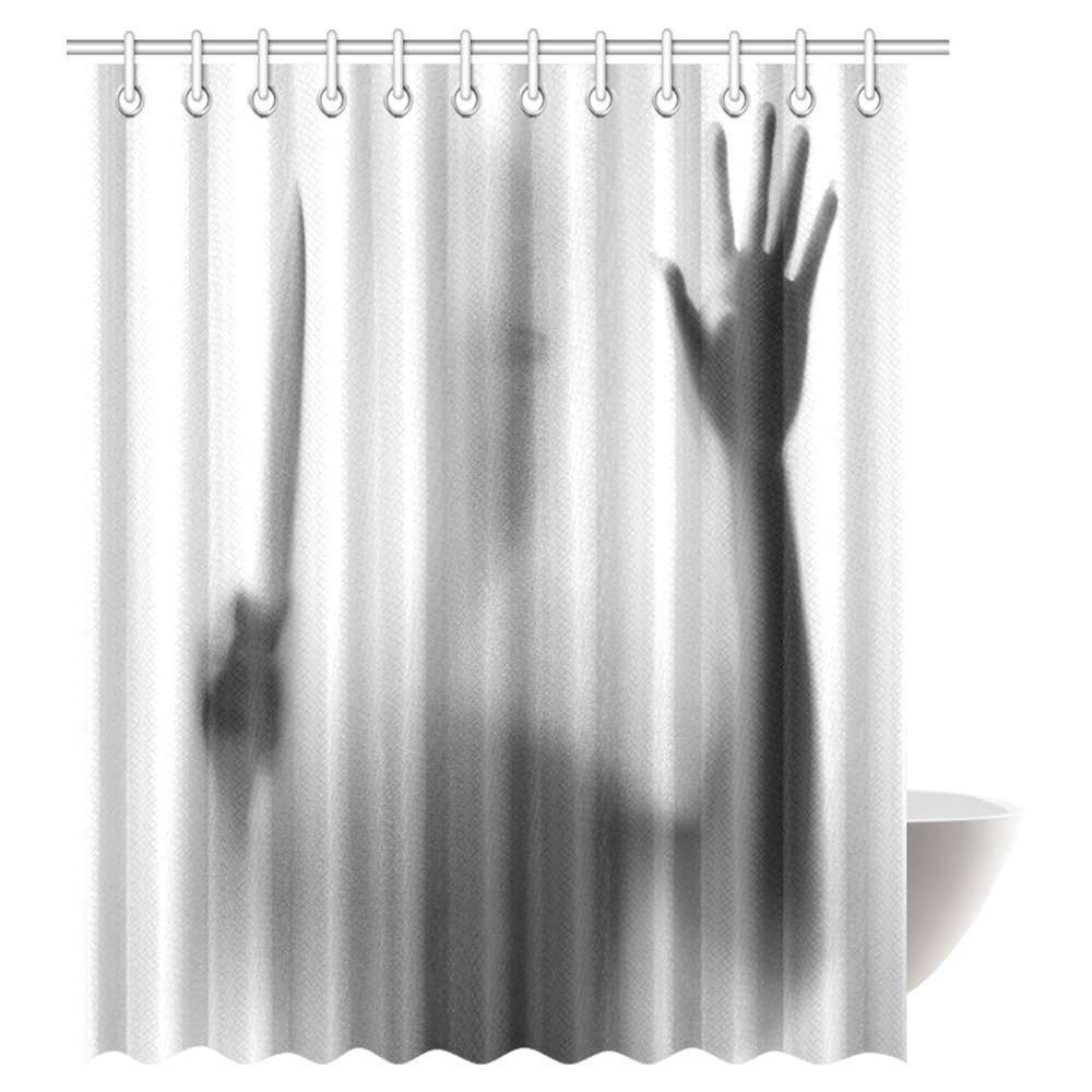 aplysia halloween horror decor shower curtain dangerous man behind the frosted glass with a knife on his hand bathroom curtains