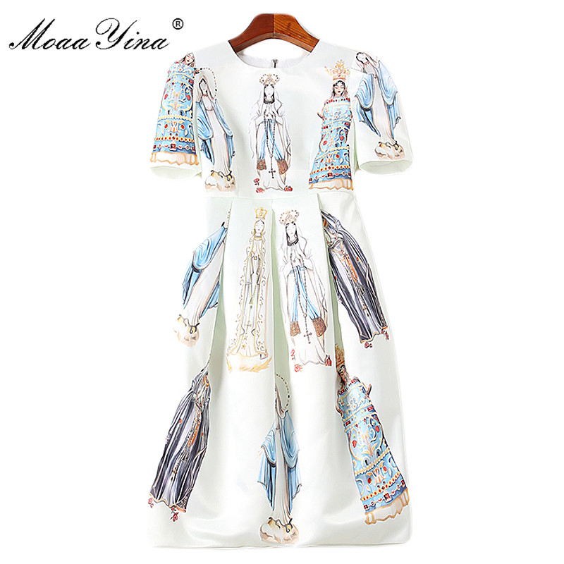 MoaaYina Fashion Designer Runway Dress Spring Summer Women s Puff Sleeve Madonna Printed Vacation Party Ball