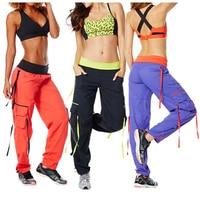 Kobieta taniec spodnie Soft-N-Stretch Cargo Spodnie kobiety doły czarny/fioletowy/pomarańczowy