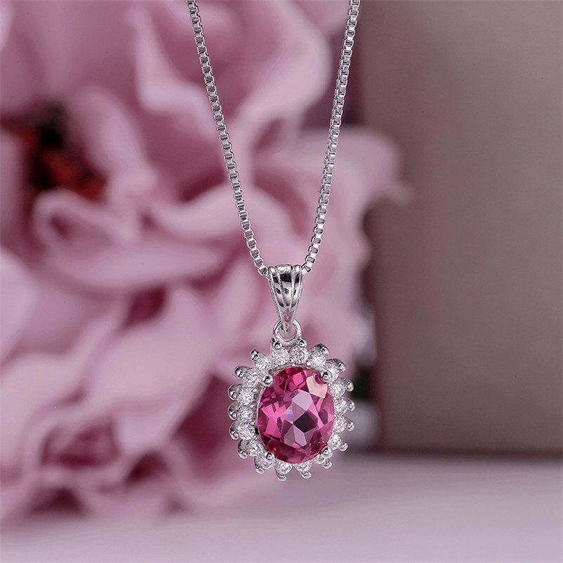 Fine Jewelry Sterling Silver Pendants For Women Natural Pink Topaz Oval Gemstone Necklaces Elegant Wedding Jewelry CCN013-4