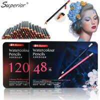 Superior profesional Level120 agua colores lápices De Color dibujo acuarela lápices para dibujar lapislázuli De CDR suministros De arte