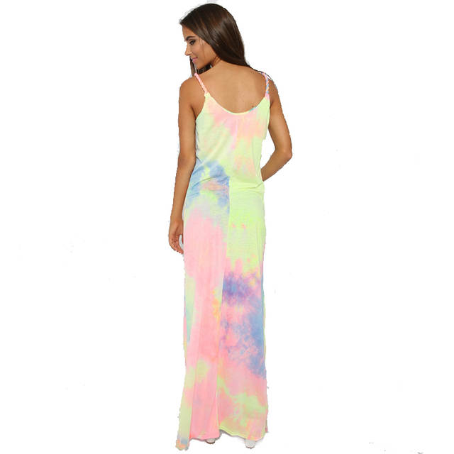 73836f4d03a81 US $15.99 |Sexy Women Tie dye Rainbow Spaghetti Strap Maxi Tank Dress  Casual Sleeveless Side Slit Prom Homecoming Party Long Sundress-in Dresses  from ...