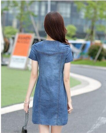 Short sleeves loose A word dresses plus sizes v-neck solid denim dress 2