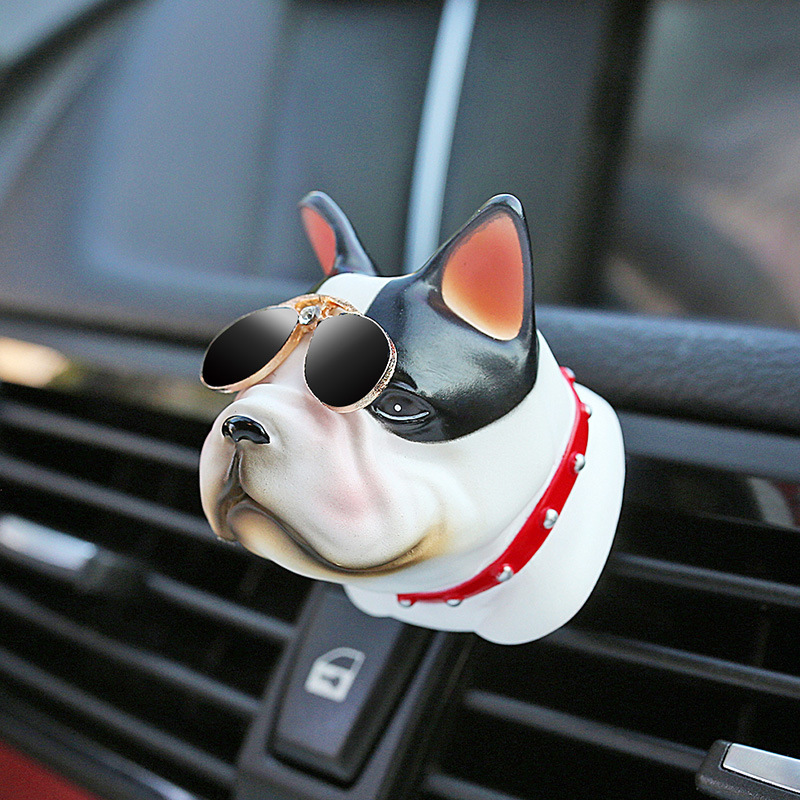 CJLWTTBOD car air freshener decoration resin air conditioning air outlet perfume clip Bull dog decorations car ornaments car outlet perfume air freshener with thermometer white black