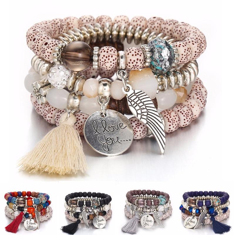 DIEZI Bohemia Crystal Bead Bracelets for Women Bracelet Female Tassel Natural Stone Charms Wristband Gift pulseira feminina bracelet