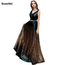 Купить с кэшбэком Suosikki V-Neck Beads Bodice Open Back A Line Long Evening Dress Party Elegant Vestido De Festa Fast Shipping Prom Gowns