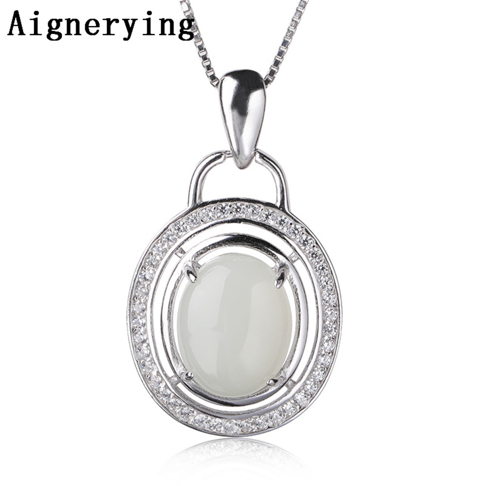 Pure 925 Silver Pendant for Jewelry Making Natural Heitan Jade Stone Original Zircon for women party Gift Box Necklace Pure 925 Silver Pendant for Jewelry Making Natural Heitan Jade Stone Original Zircon for women party Gift Box Necklace