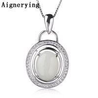 Pure 925 Silver Pendant for Jewelry Making Natural Heitan Jade Stone Original Zircon for women party Gift Box Necklace