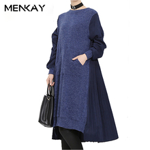[MENKAY] Knitted Sweater Contrast Back Pleating Draped Loose Dress Women Long Sleeve 2018 Spring Fashion New