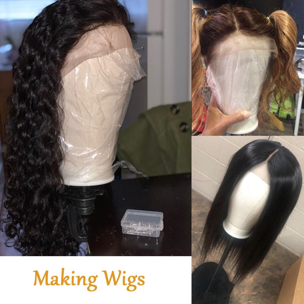Alileader Training Mannequin Head Canvas Block Head Display Styling Mannequin Manikin Head Wig Stand Free Get T Needle Holder