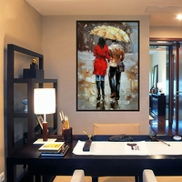 Lovers in Rainy Days Landscape Wall Art for Vintage Home Decoration Handpainted Canvas Oil Knife Painting Christmas Decorations