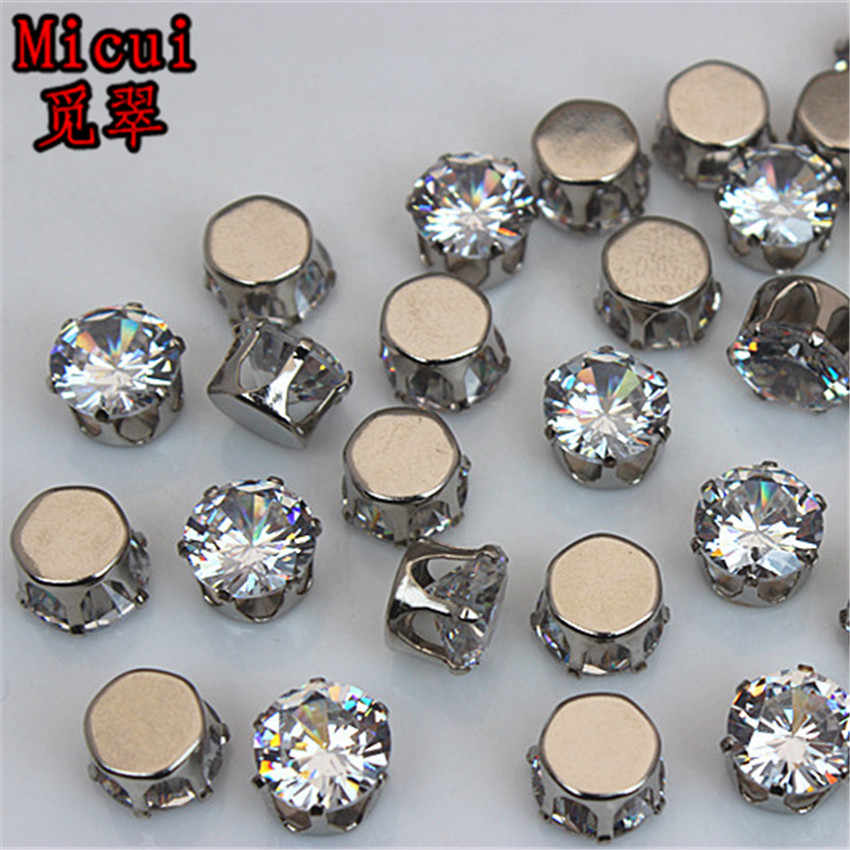 Micui 30PCS Round 10mm Clear Zircon Crystal Claw Rhinestone Bridal Applique  Stones Flat Back Strass Crystal d8587bd58860